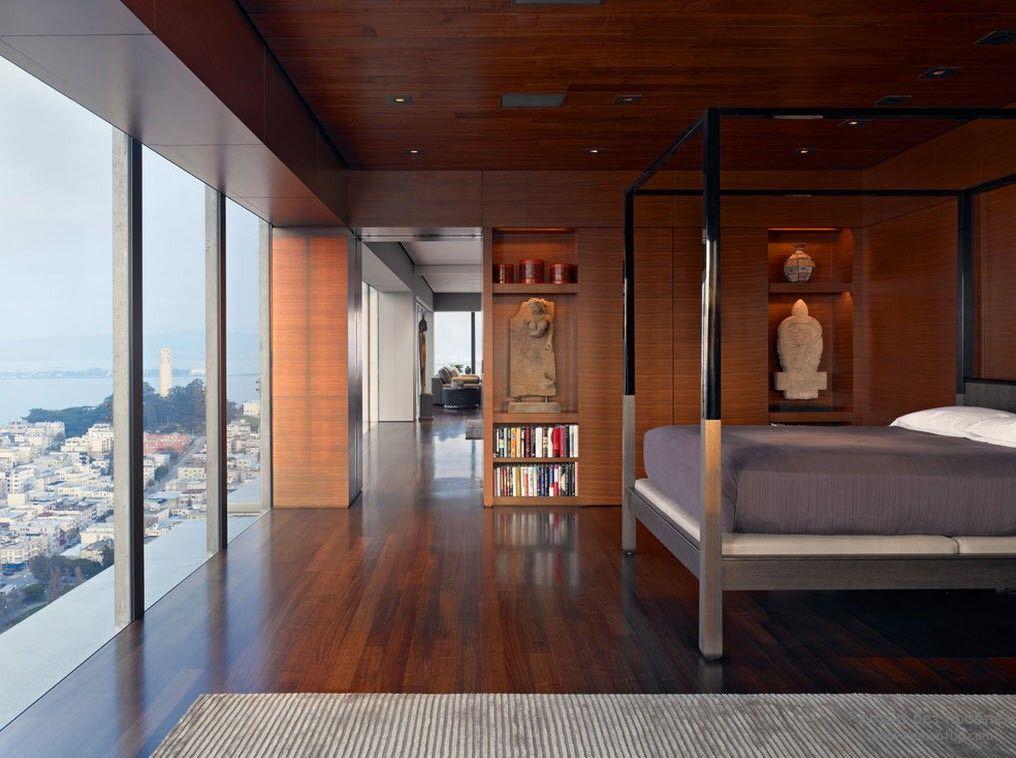 Более темные тона в японской спальне