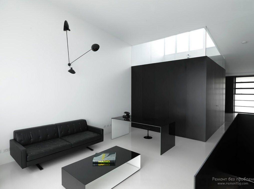 Контрастная черно-белая мебель в стиле минимализм