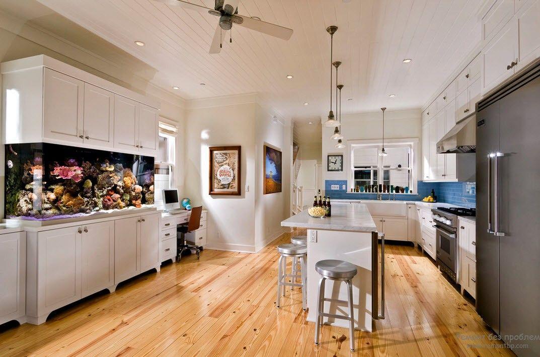 Аквариум в кухонном дизайне
