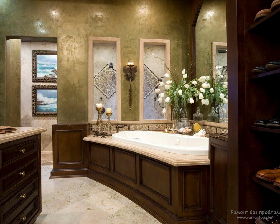 Роскошная благородная ванная комната с отделкой стен декоративной штукатуркой