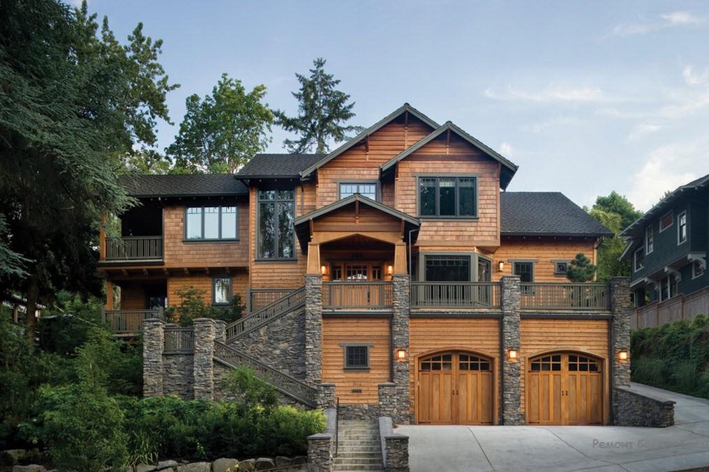 деревянный дом в каменном окружении
