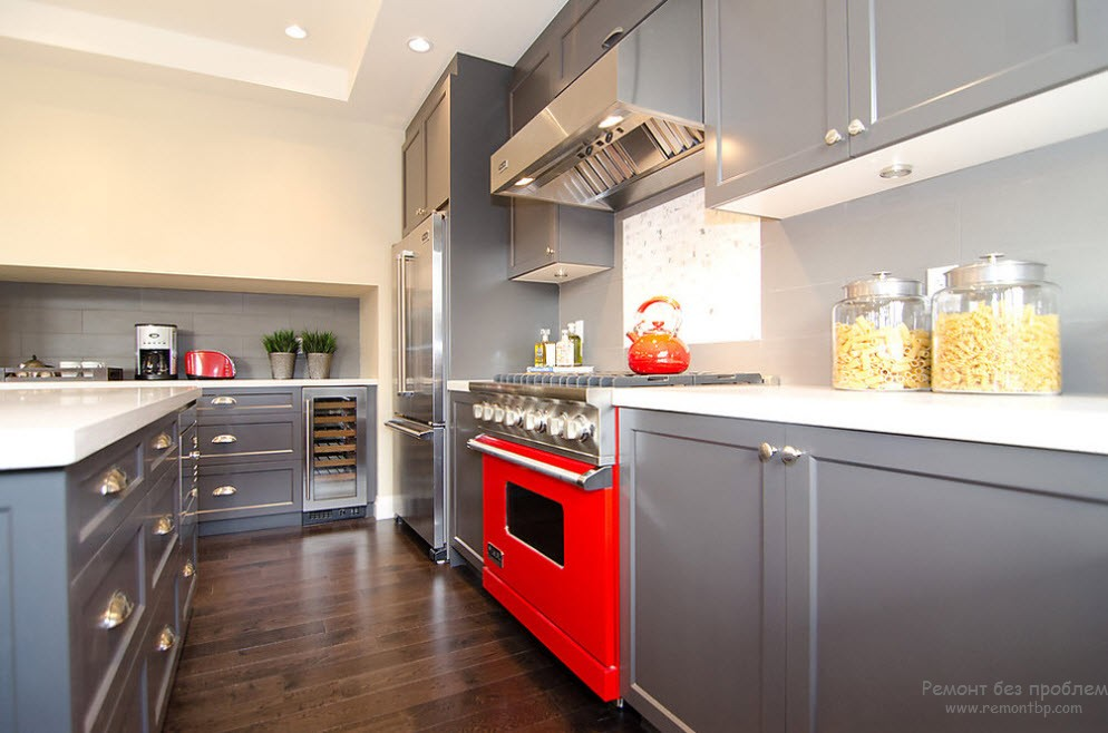 red color kitchen red cabinets grey walls red and grey
