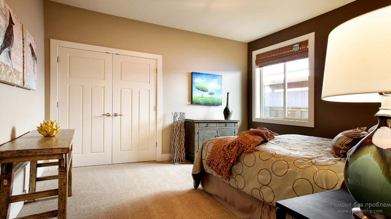Романтическая и нежная спальня с коричневым оттенком