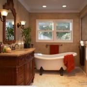 Декоративная штукатурка на стенах комнаты классической ванной