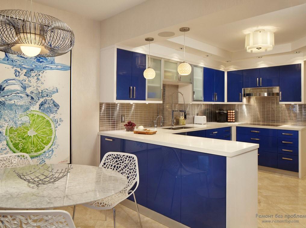 Кухни синего цвета фото в интерьере