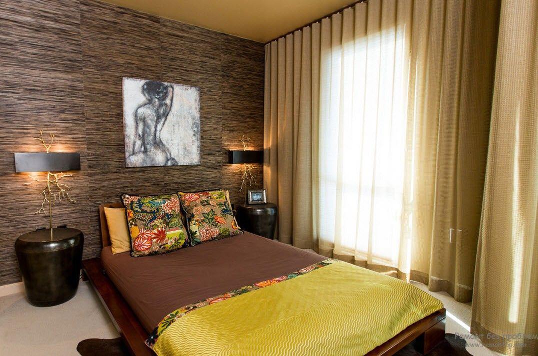 Японская спальня в темном цветовом оформлении