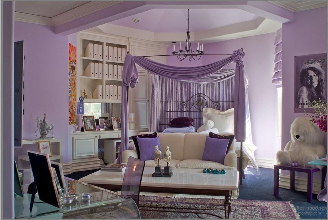 Стены и потолок в фиолетовых тонах