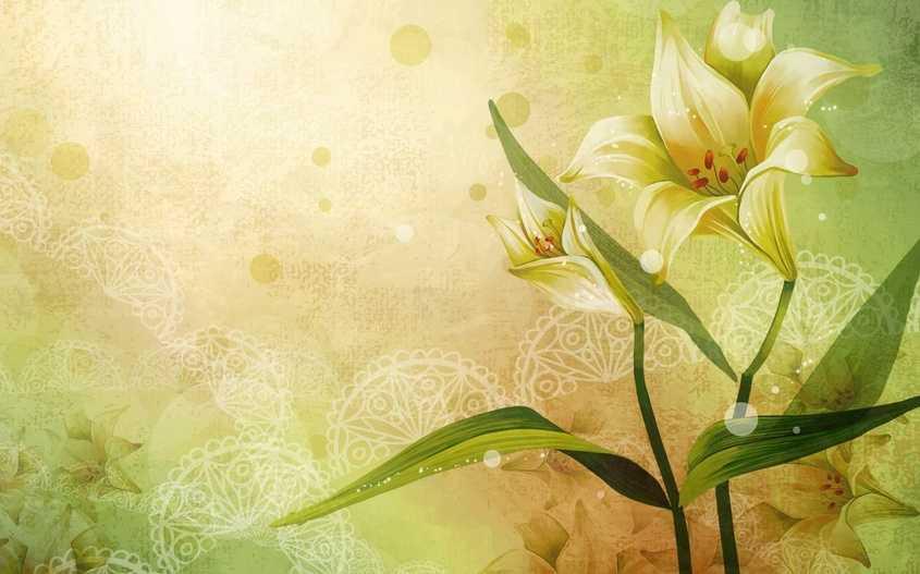 Обои цветы в интерьере