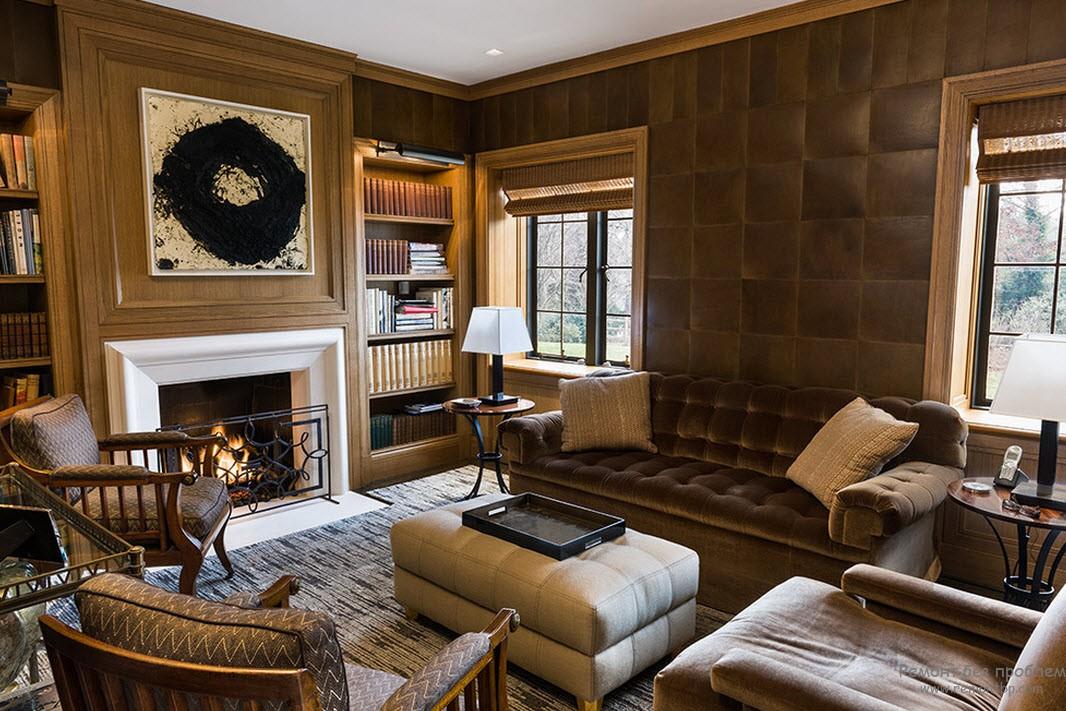 Элегантный и брагородный интерьер с кожаной плиткой на стенах