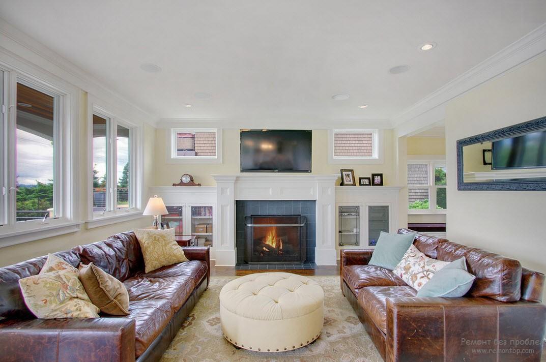 Кожаный пол в интерьере и благородный кожаный диван кофейного цвета