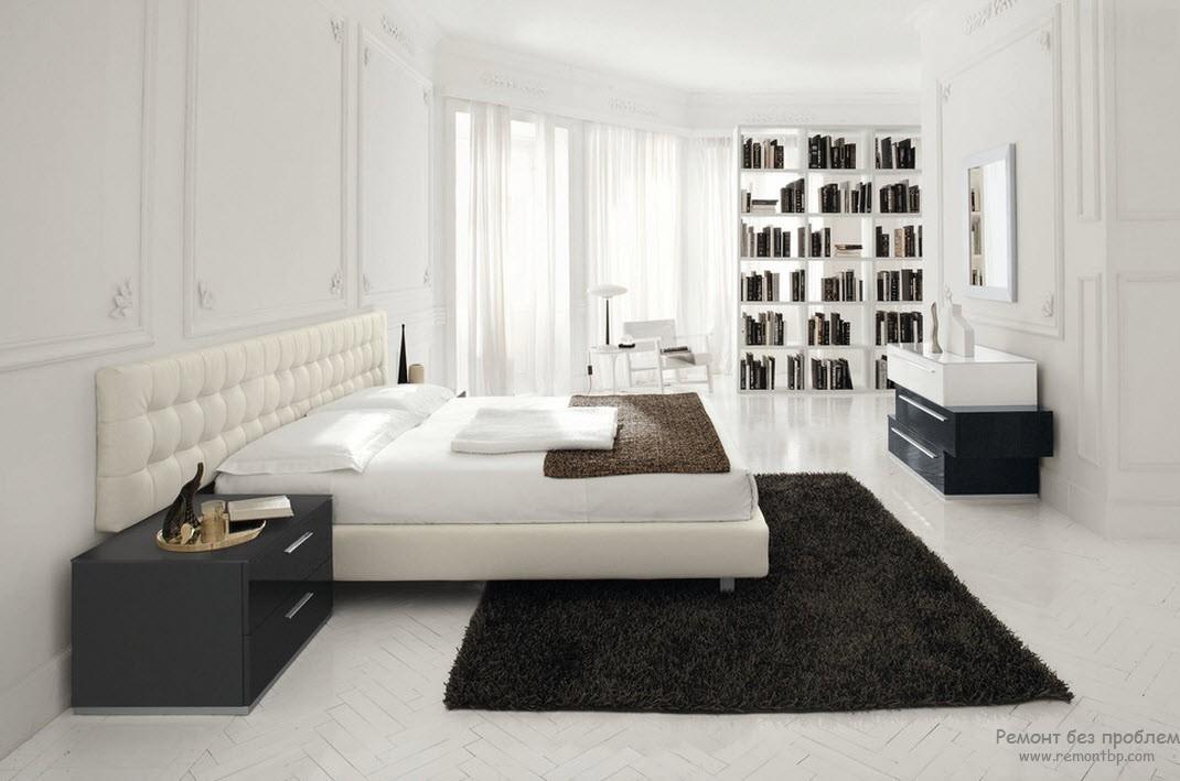 Черно-белая спальня в минимальном стиле