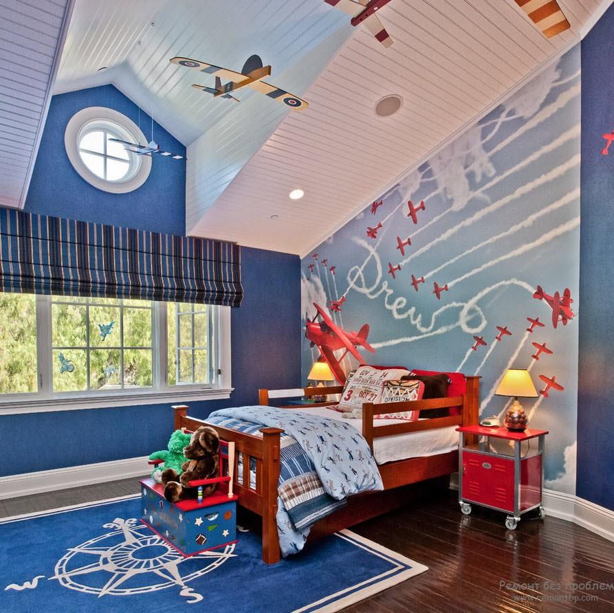 Дизайн комнаты для мальчика, увлекающегося самолетами
