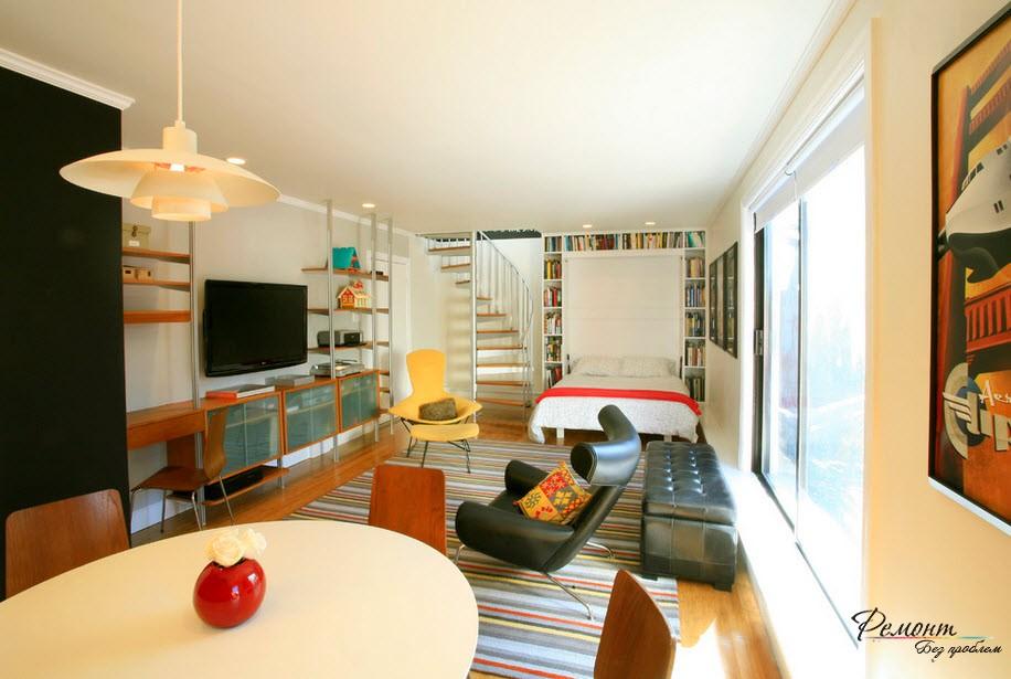 Рациональный вариант совмещения гостиной со спальней