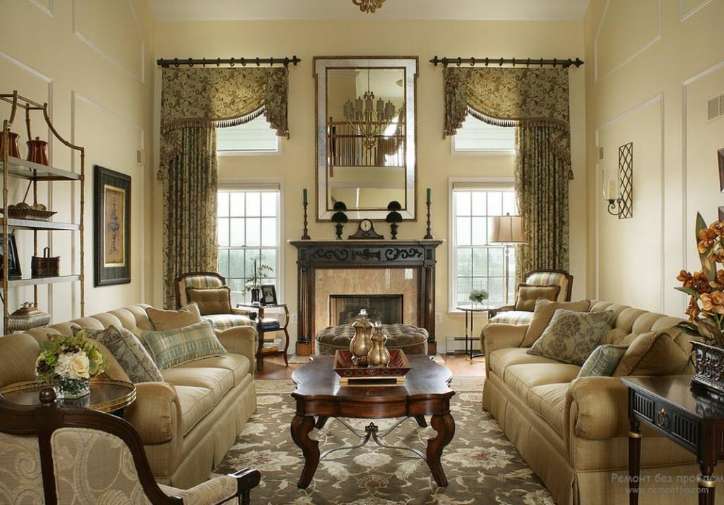 Дизайн окна в гостиной в классическом стиле