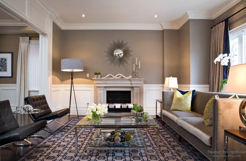 Благородная комбинация серого, белого и бежевого в интерьере гостиной