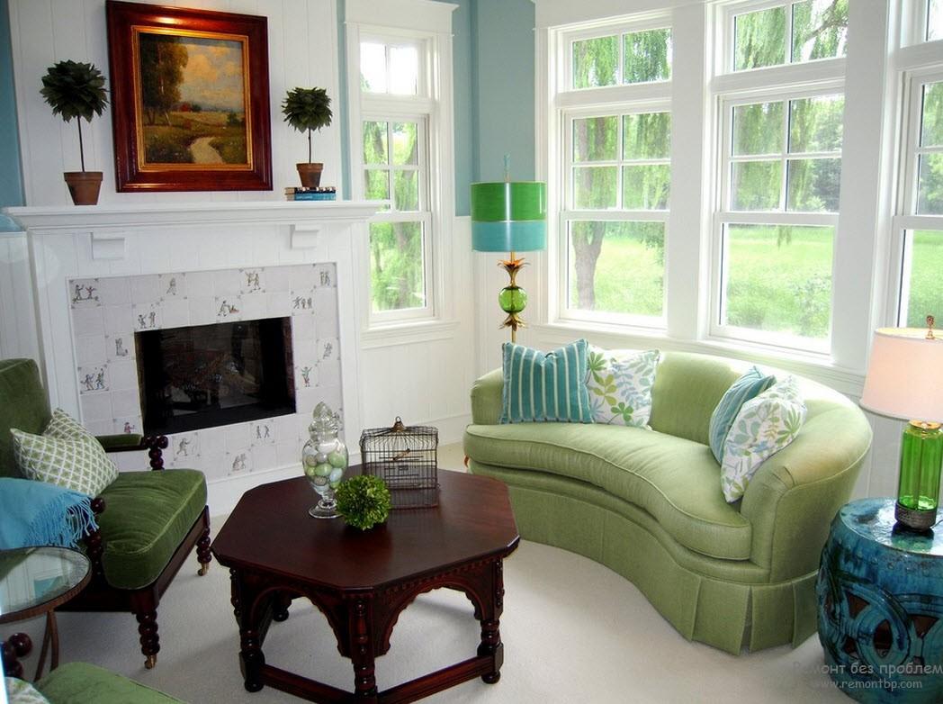 зеленый и голубой в гостиной