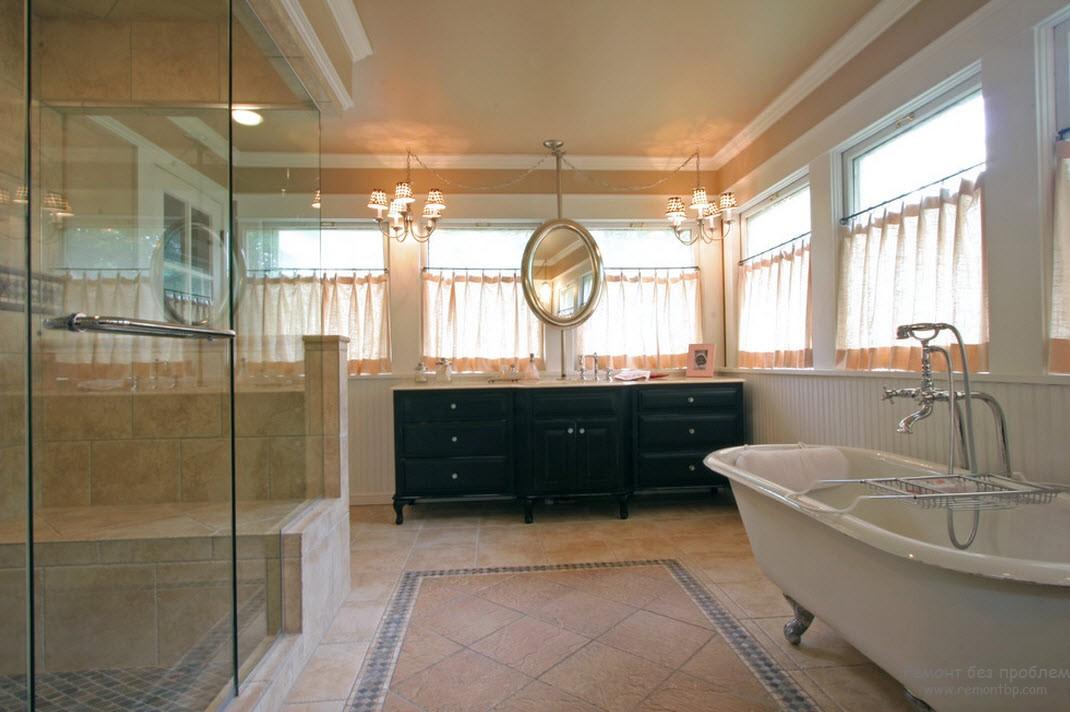 Темные стол в ванной комнате