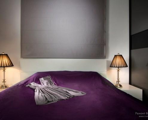 Красивая фиолетовая спальня
