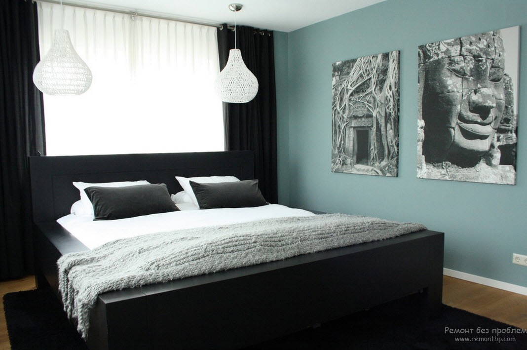 Черно-белая спальня в стиле этно