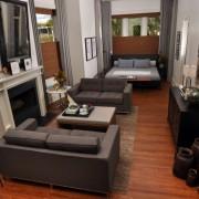 Эффектный интерьер гостиной со спальней, где есть единство между зонами