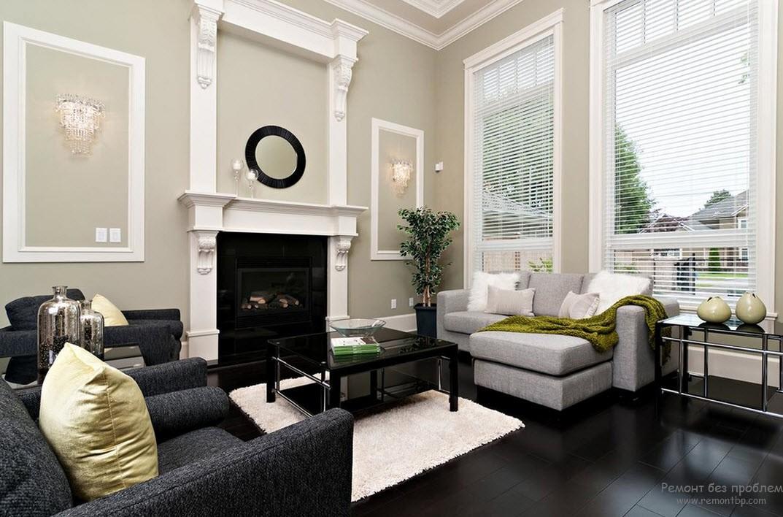 Дизайн серой гостиной в сочетании с белым и черным цветами
