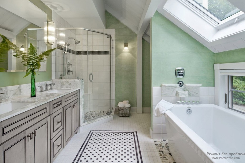 Traditional bathroom floor tile