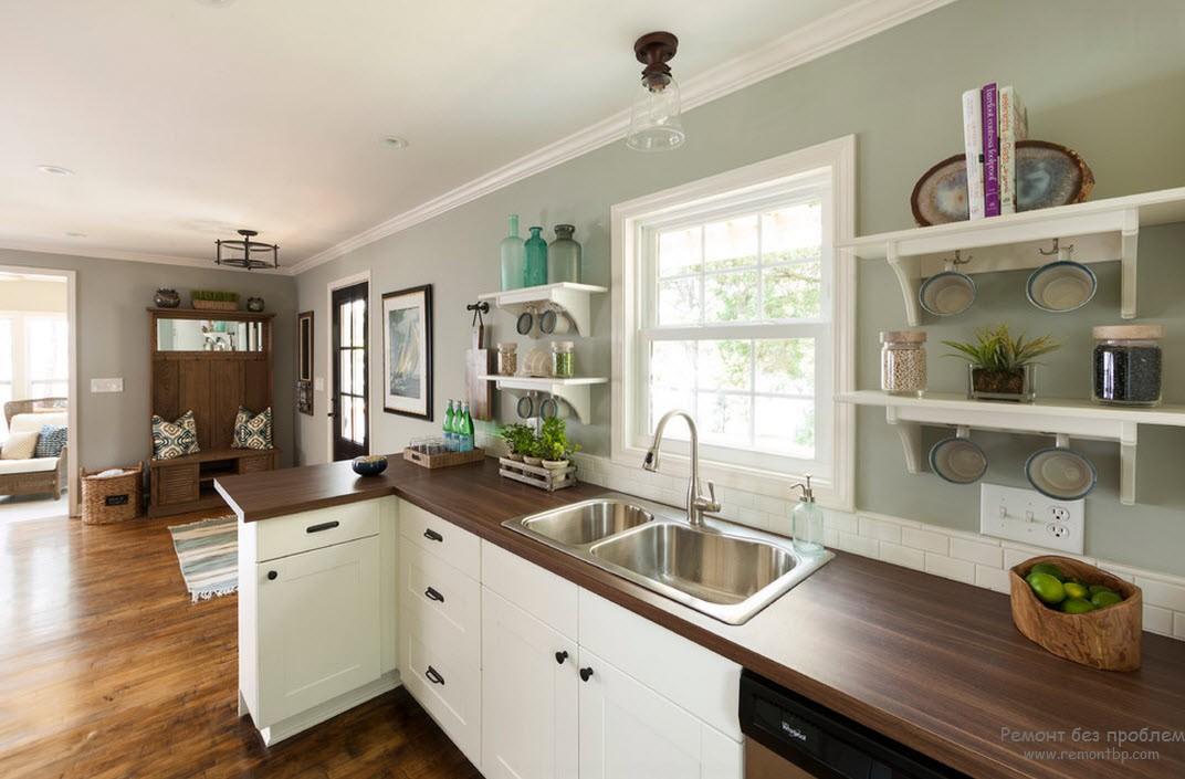 Ламинат в качестве напольного покрытия кухни в морском стиле