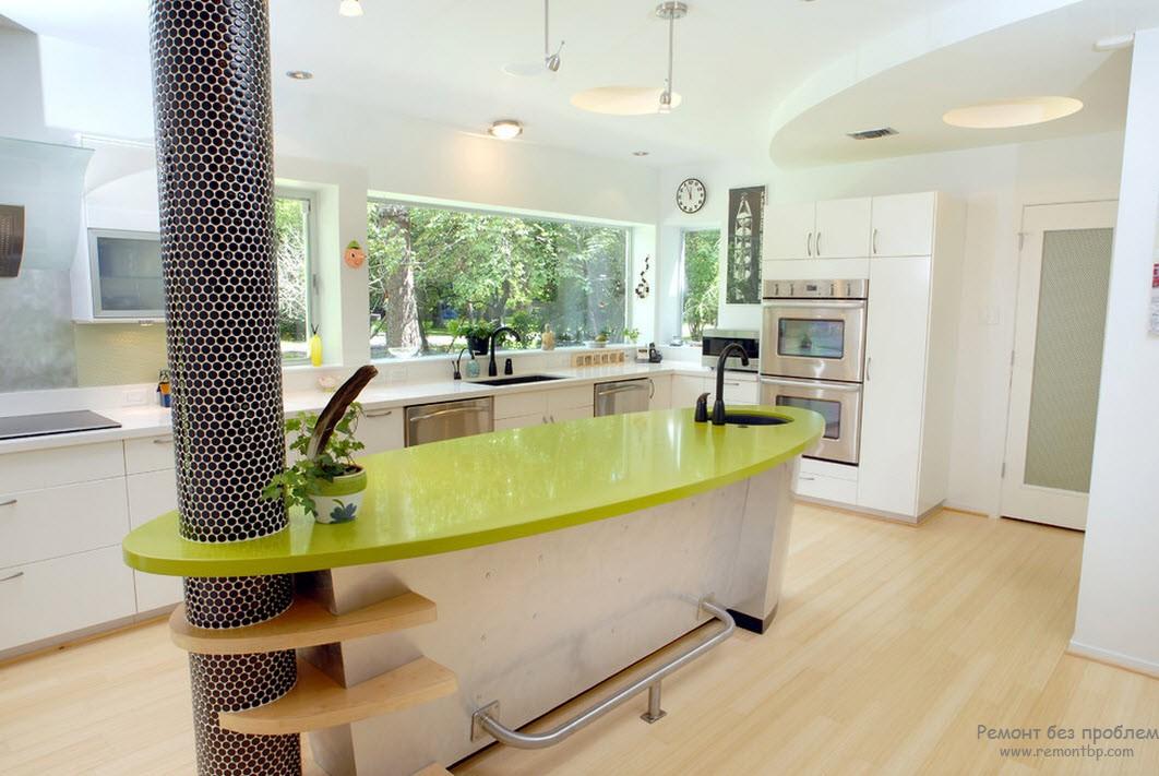 Оригинальный дизайн современной кухни с колонной у барной стойки