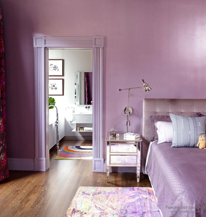 Светло-фиолетовые обои в интерьере фото