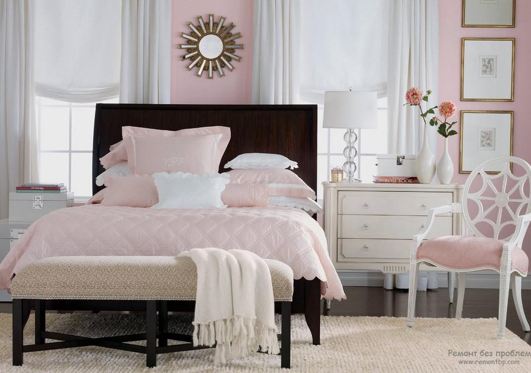 Интерьер розовой спальни