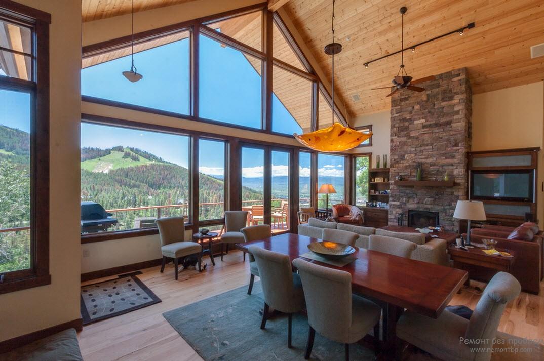 Красивый интерьер дома в стиле шале