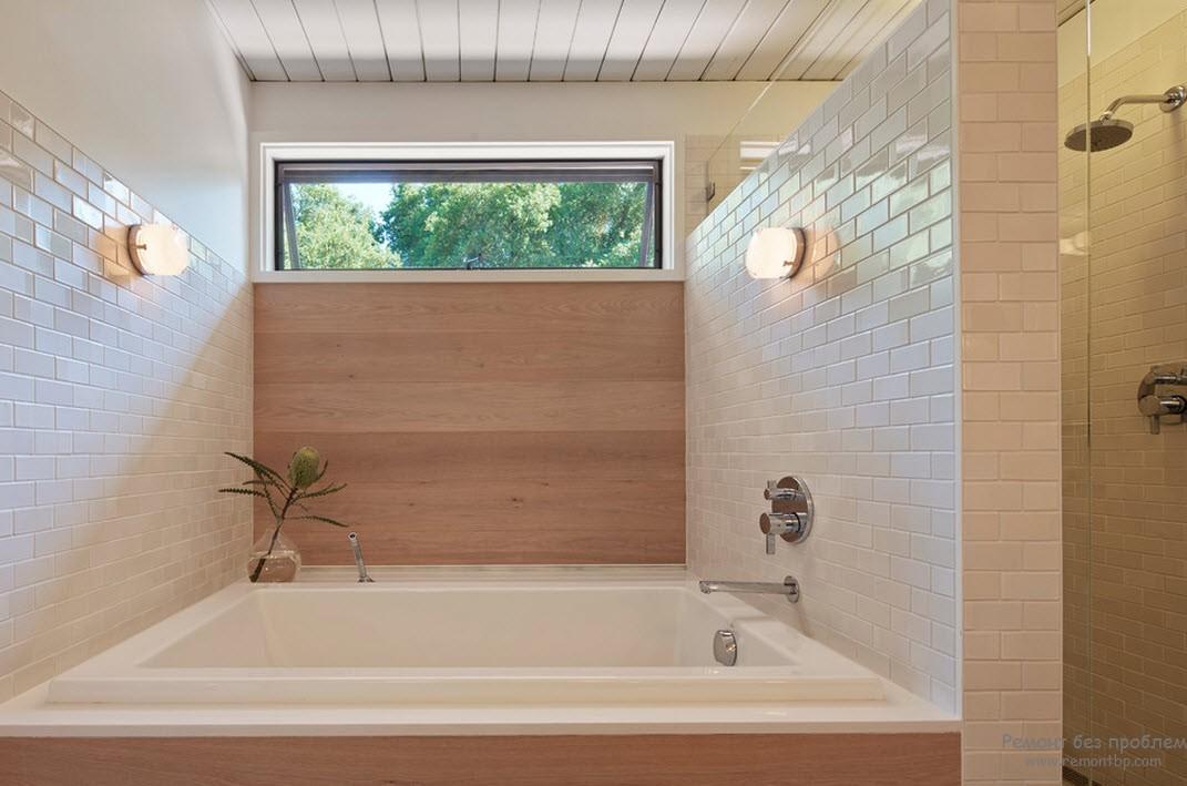 Деревянные стены в ванной