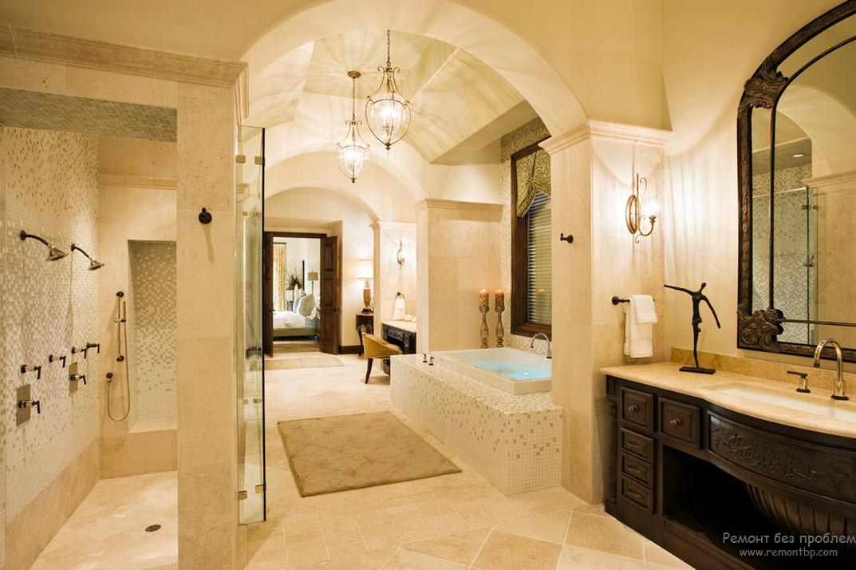 Колониальный стиль для ванной комнаты