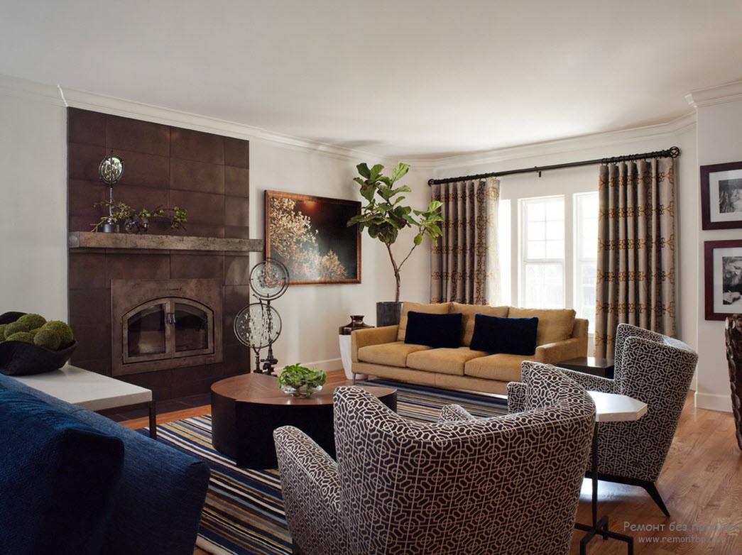 Комбинация различных оттенков коричневого цвета в интерьере гостиной