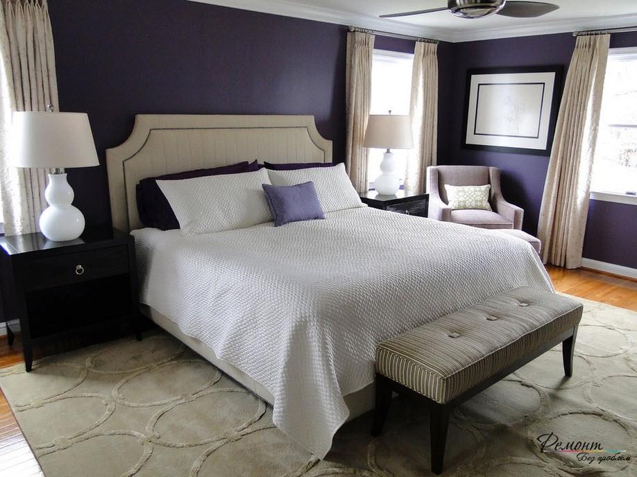 Фиолетовый в спальне дарит хороший сон