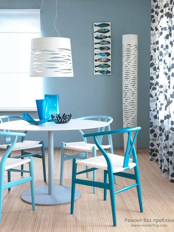 Чтобы интерьер стал легким и воздушным, используйте голубые цвета
