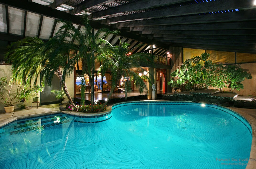 Шикарный дизайн бассейна с атмосферой тропиков