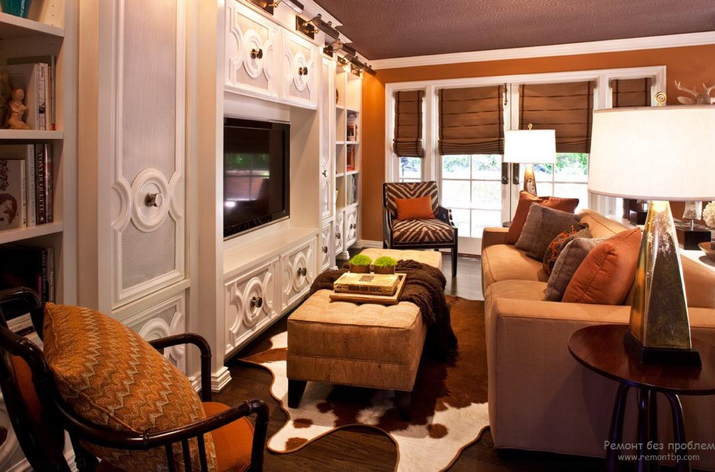 Цвет корицы придает особое тепло и уют атмосфере гостиной