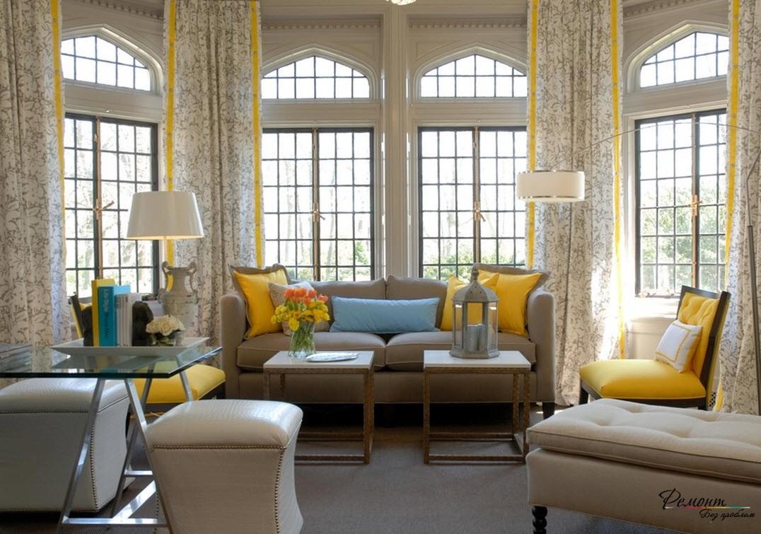 Сочетание желтого и бежевого цветов