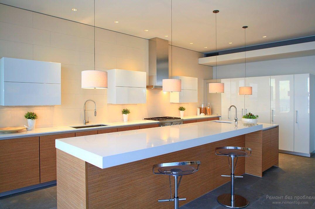 Дизайн среднегабаритной Г-образной кухни