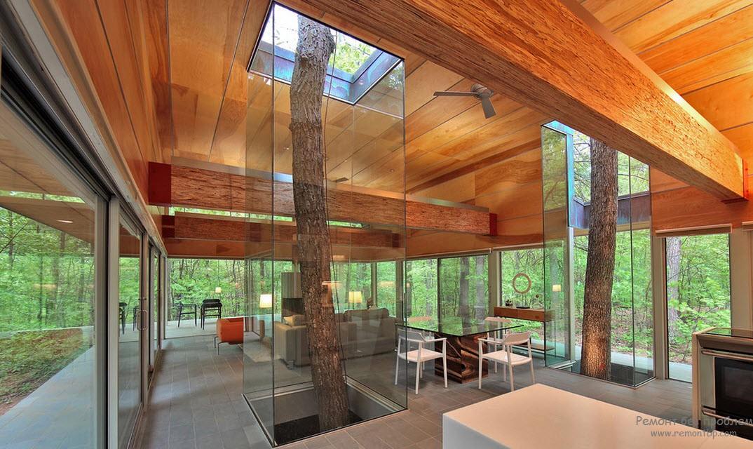 Дерево, стекло и светлая мебель
