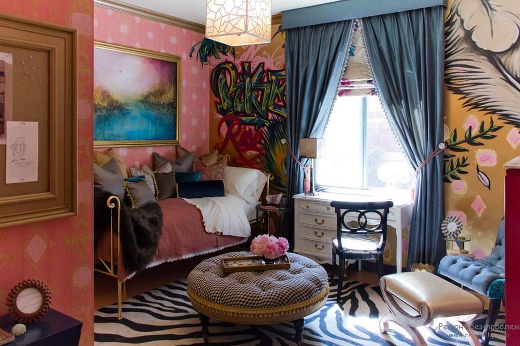 Сочетание розового в спальне