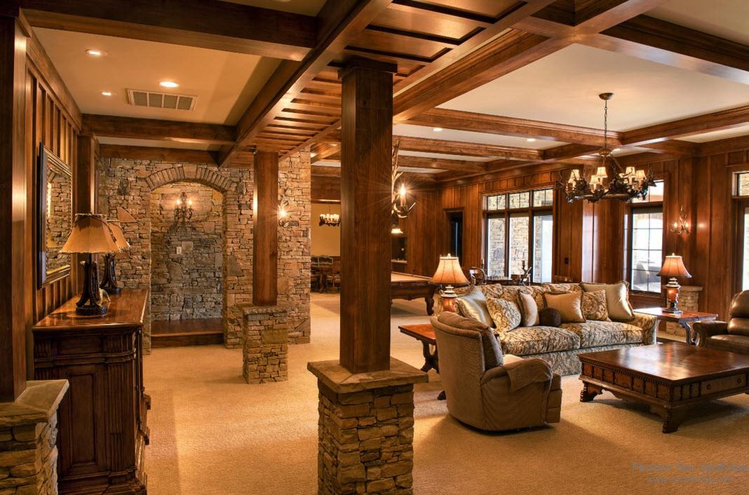 Роскошный дизайн деревянной гостиной с деревянными колоннами