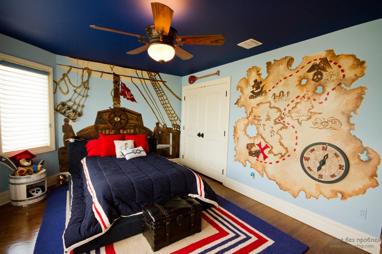 Красивый дизайн комнаты для мальчика в морском стиле