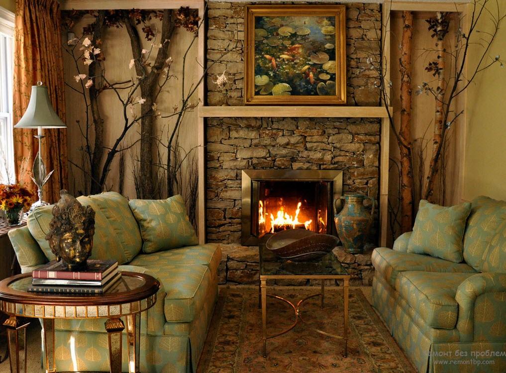 Деревянные элементы в гостиной