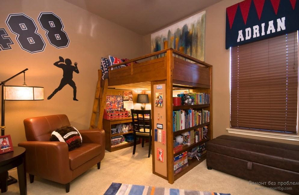 Оригинальный интерьер комнаты для мальчика с спортивным уклоном