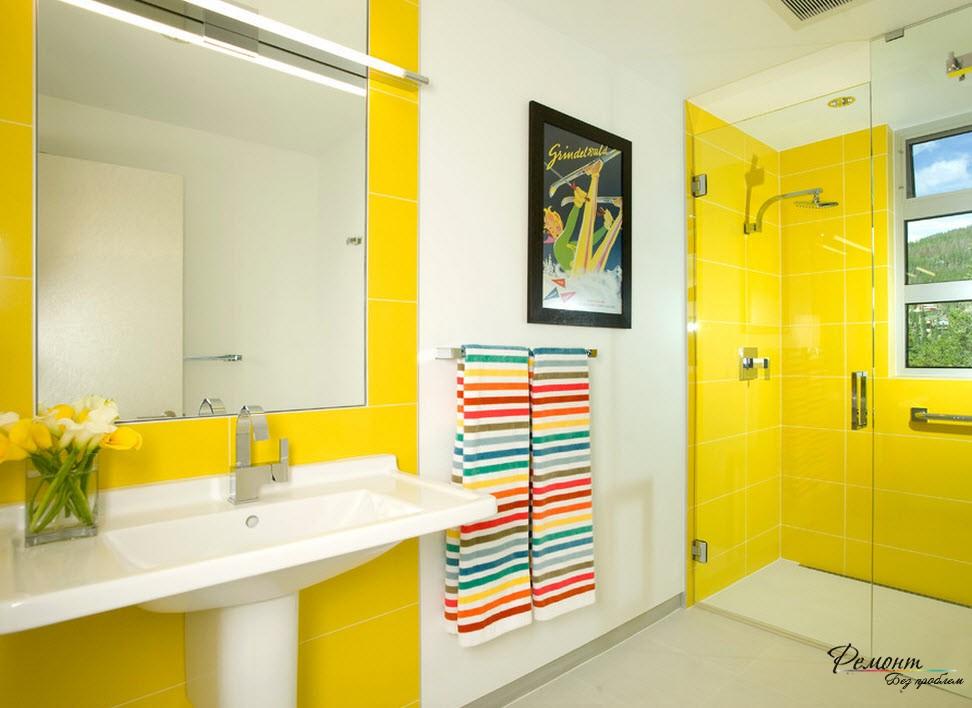 Желтый цвет в ванной сделает ее веселой