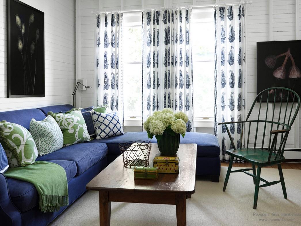 Зеленый и синий цвета для гостиной