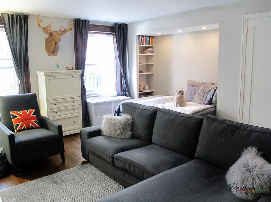 Дизайн небольшой гостиной со спальным местом