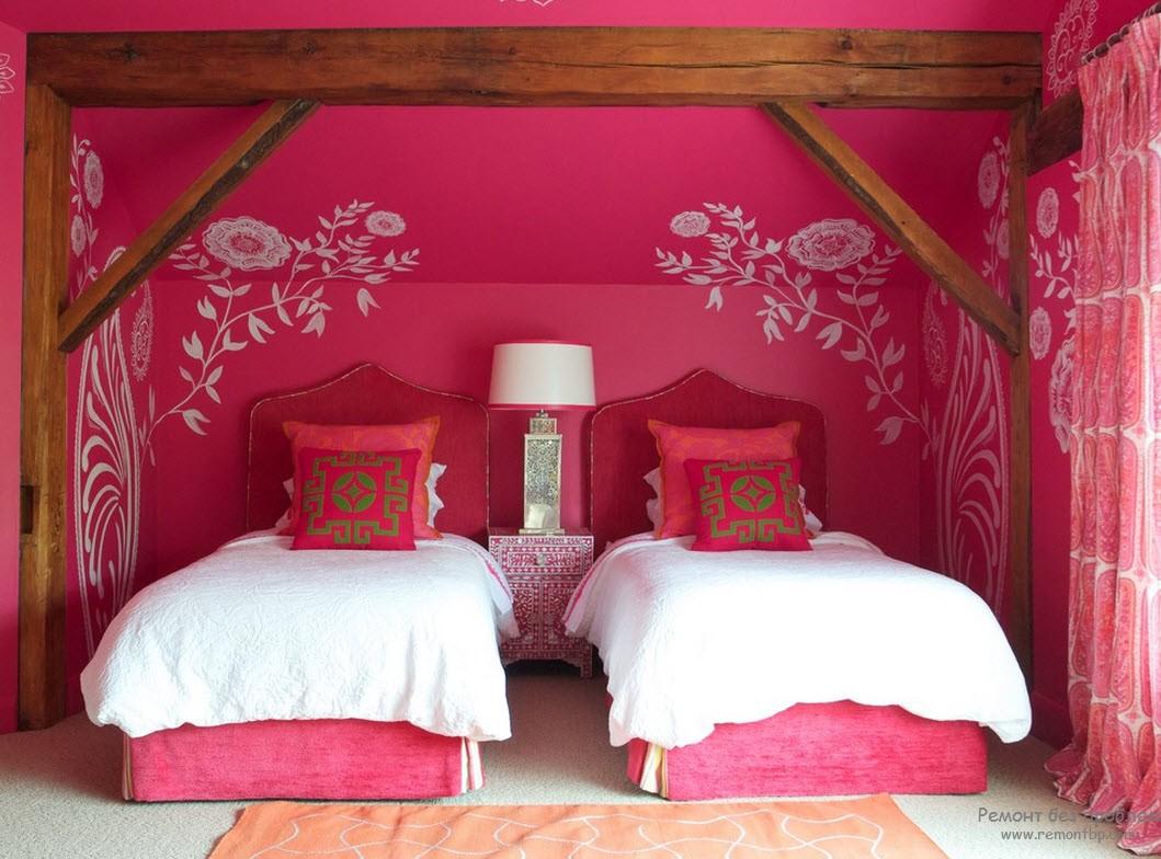 Розовые кровати в дизайне спальной